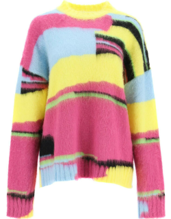 MSGM 'THE LONG THING' SWEATER BY ALESSANDRO CALABRESE XS Yellow, Light blue, Purple Wool