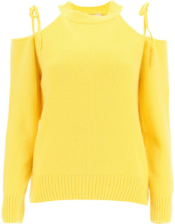 MSGM CASHMERE SWEATER WITH CUT-OUT S Yellow Cashmere