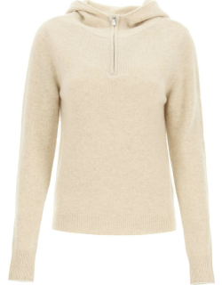 TOTEME CASHMERE HOODED SWEATER S Beige Cashmere