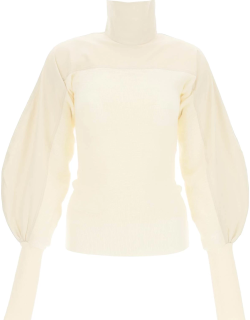 LEMAIRE HIGH NECK SWEATER IN WOOL AND COTTON 34 White, Beige Cotton, Wool