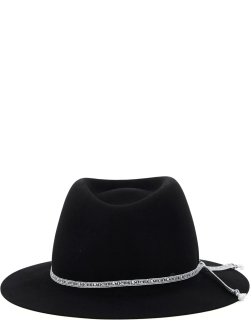 MAISON MICHEL ANDRE TRILBY HAT WITH LOGO RIBBON M Black