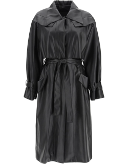 LOW CLASSIC FAUX LEATHER TRENCH COAT S Black Faux leather
