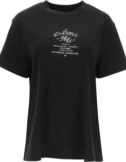 GIVENCHY T-SHIRT WITH GIVENCHY MMW PRINT S Black, White Cotton