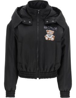 MOSCHINO TEDDY PAINTING BOMBER JACKET 38 Black Technical