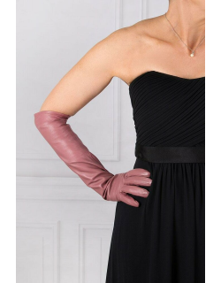 Dents Women's Single Point Long Leather Gloves In Pink