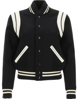 SAINT LAURENT TEDDY BOMBER JACKET IN WOOL AND LEATHER 36 Black, White Wool, Leather