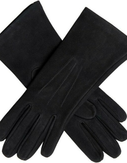 Dents Women's Silk Lined Lamb Suede Gloves In Black