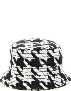 MAISON MICHEL DOGTOOTH AXEL BUCKET HAT S White, Black Technical, Cotton