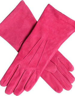 Dents Women's Silk Lined Lamb Suede Gloves In Hot Pink