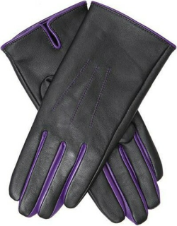 Dents Women's Leather Gloves With Contrasting Forchettes In Black/amethyst