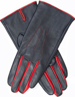 Dents Women's Leather Gloves With Contrasting Forchettes In Navy/berry