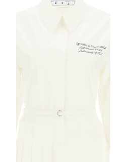 OFF-WHITE SHIRT DRESS WITH PLEATED PANEL 40 White, Black Cotton
