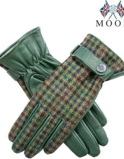 Dents Women's Leather & Abraham Moon Tweed Gloves In Forest Green/forest