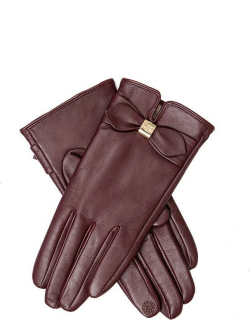 Dents Women's Touchscreen Leather Gloves With Bow Detail In Claret