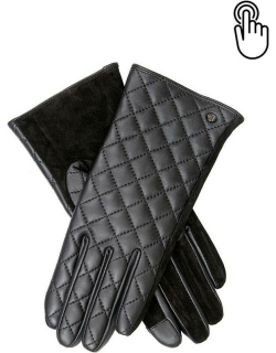 Dents Women's Touchscreen Quilted Leather Gloves In Black