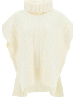 SEE BY CHLOE CABLE KNIT CAPE SWEATER S White Wool
