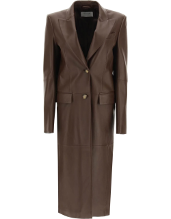 SPORTMAX GIRONE NAPPA TRENCH COAT 40 Brown Leather