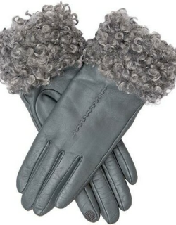 Dents Women's Touchscreen Leather Gloves With Faux Shearling Cuffs In Charcoal