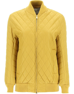 MAX MARA CROTONE QUILTED BOMBER JACKET 36 Yellow Technical
