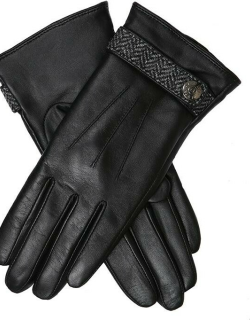 Dents Women's Wool Lined Leather Gloves With Abraham Moon Tweed Detail In Black/charcoal