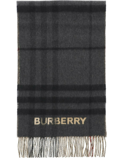 BURBERRY CHECK CASHMERE SCARF OS Black, Beige Wool
