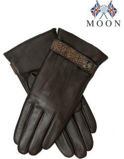 Dents Women's Wool Lined Leather Gloves With Abraham Moon Tweed Detail In Mocca/chocolate