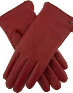 Dents Women's Faux Fur Lined Leather Gloves In Berry