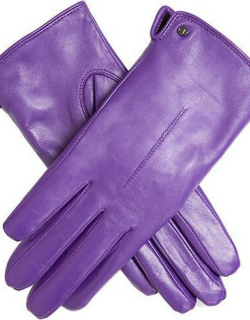 Dents Women's Faux Fur Lined Leather Gloves In Amethyst