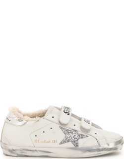 GOLDEN GOOSE OLD SCHOOL SNEAKERS 37 White, Silver Leather