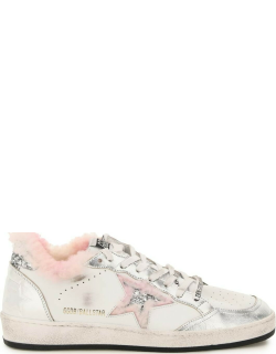 GOLDEN GOOSE BALL STAR SNEAKERS WITH SHEARLING 36 White, Silver Leather