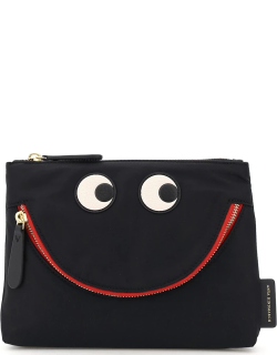 ANYA HINDMARCH HAPPY EYES NYLON POUCH OS Black Technical, Leather