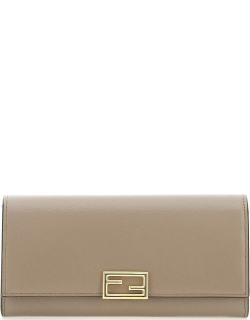 FENDI FENDI WAY LEATHER CONTINENTAL WALLET OS Brown Leather