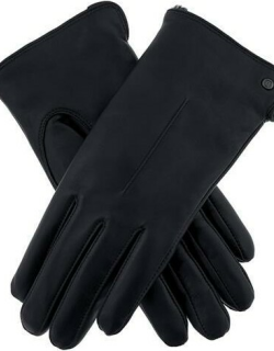 Dents Women's Faux Fur Lined Leather Gloves In Navy
