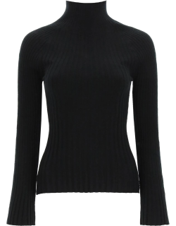 LOULOU STUDIO RIBBED WOOL AND CACHEMIRE SWEATER S Black Cashmere, Wool