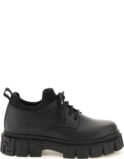 FENDI LEATHER DERBY SHOES 36 Black Leather