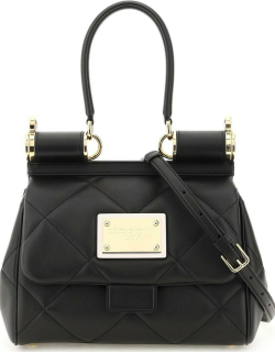 DOLCE & GABBANA QUILTED LEATHER SICILY BAG OS Black Leather