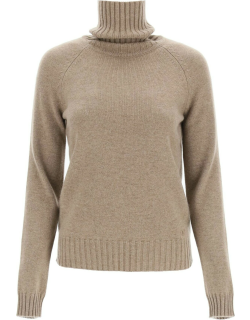 TORY BURCH CASHMERE TURTLENECK SWEATER XS Brown, Grey Cashmere