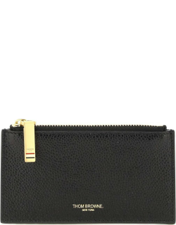 THOM BROWNE LEATHER CARD HOLDER WITH ZIP OS Black Leather