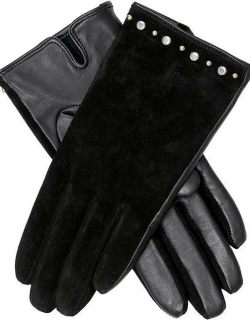 Dents Women's Studded Suede & Leather Gloves In Black
