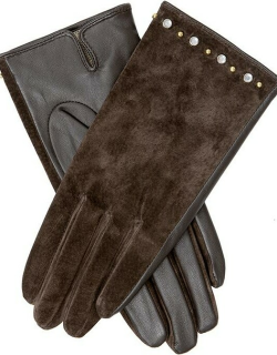 Dents Women's Studded Suede & Leather Gloves In Mocca