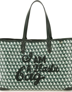 ANYA HINDMARCH I AM A PLASTIC BAG SMALL TOTE BAG OS Green, White Faux leather