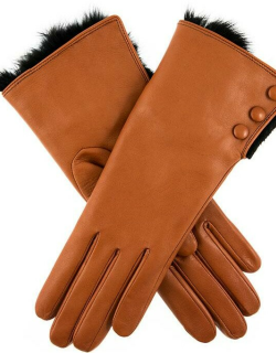 Dents Women's Leather Gloves With Fur Cuffs In Cognac