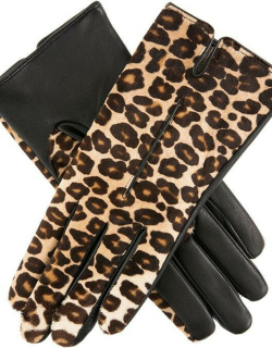 Dents Women's Animal Print Ponyskin And Leather Gloves In Leopard