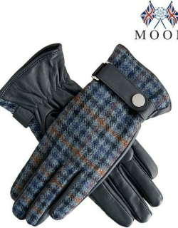 Dents Women's Leather & Abraham Moon Tweed Gloves In Navy/airforce