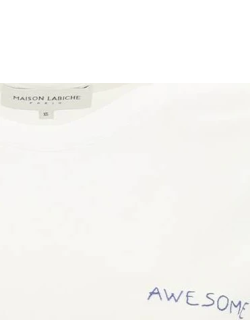 MAISON LABICHE POPINCOURT T-SHIRT WITH AWESOME EMBROIDERY XS White, Blue Cotton