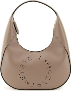 STELLA McCARTNEY SMALL HOBO BAG WITH LOGO OS Grey Faux leather