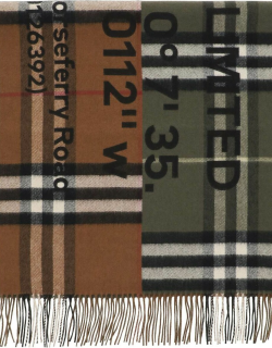 BURBERRY HORSEFERRY PRINT BICOLOR CHECK SCARF OS Brown, Green, Black Wool