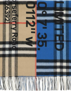 BURBERRY HORSEFERRY PRINT BICOLOR CHECK SCARF OS Beige, Blue, Black Wool