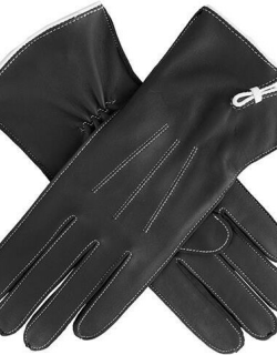 Dents Women's Classic Unlined Leather Gloves In Black/white