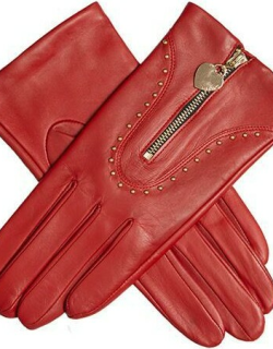 Dents Women's Studded Leather Gloves With Heart Pendant In Berry